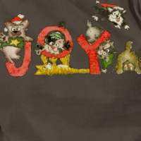 Christmas Cartoon Kitten Cats JOY Apparel Shirt T-shirt