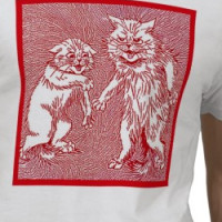Kitty Cats in Red  by Louis Wain T-shirt